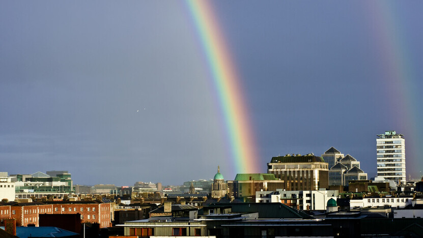 rainbow over city, brocher teclit, rain pipe, sewer pipe, germany